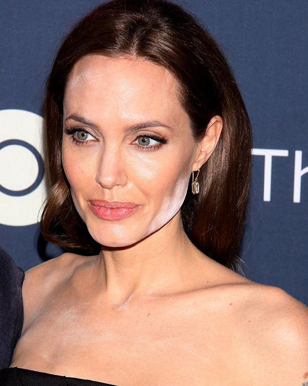 Анджелина Джоли с неудачным макияжем