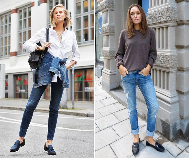 Классика: Лоферы с джинсами - фото