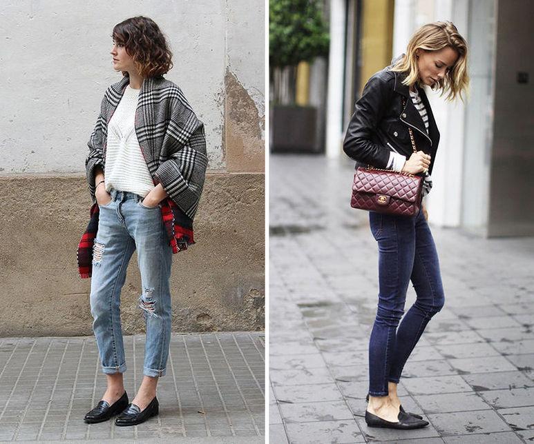 Лоферы с джинсами - комплект в стиле кэжуал